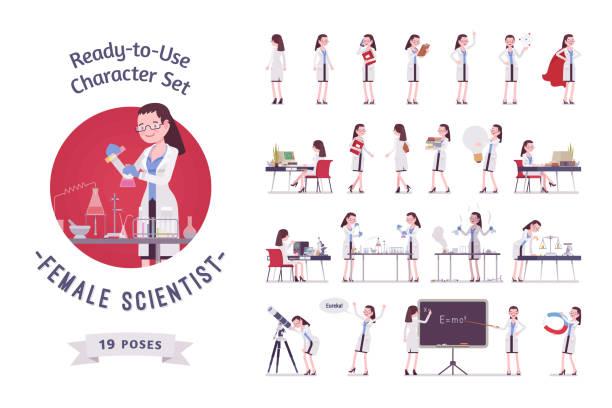 ilustrações de stock, clip art, desenhos animados e ícones de female scientist ready-to-use character set - scientist