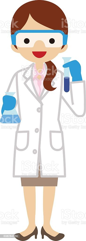 Female Scientist vector art illustration