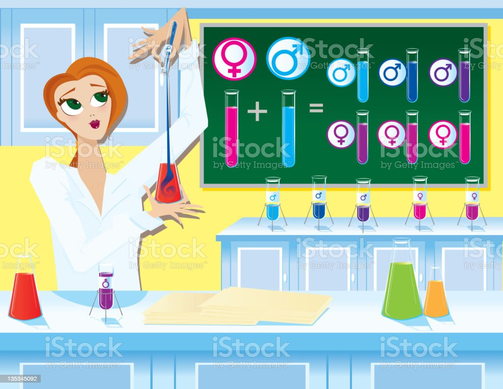 Female Scientist Working in Laboratory with Test Tubes royalty-free stock vector art