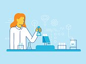 Vector illustration and infographics design elements in modern flat linear style - female scientist working in the lab - chemical research, biological engineering concepts