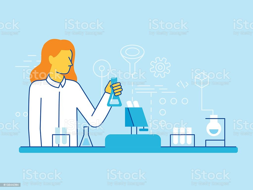 Female scientist working in the lab vector art illustration