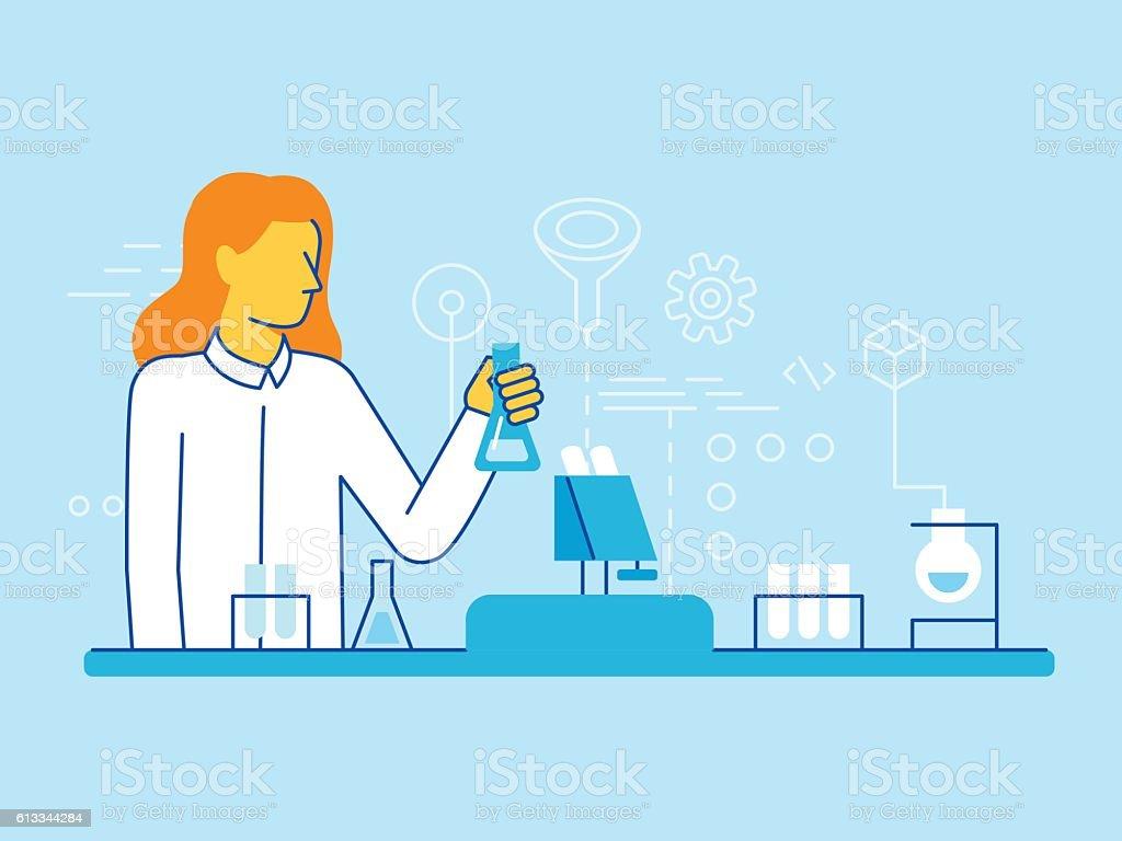 Weibliche Wissenschaftler Arbeiten im Labor – Vektorgrafik