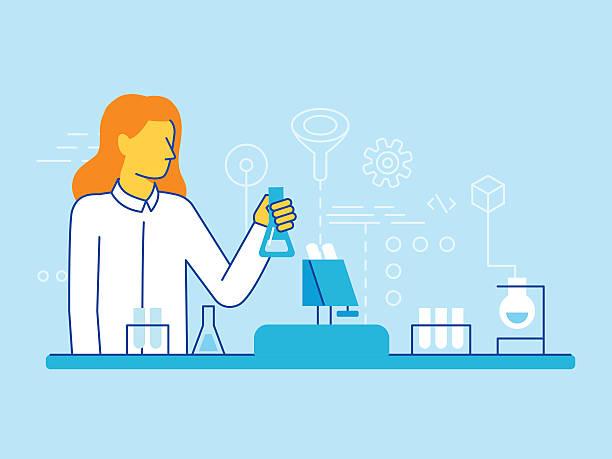 weibliche wissenschaftler arbeiten im labor - wissenschaftsberuf stock-grafiken, -clipart, -cartoons und -symbole