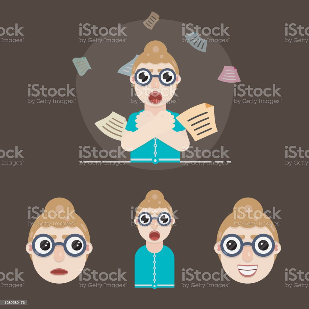 Female Secretary Character Design `Flat Vector Illustration` vector art illustration
