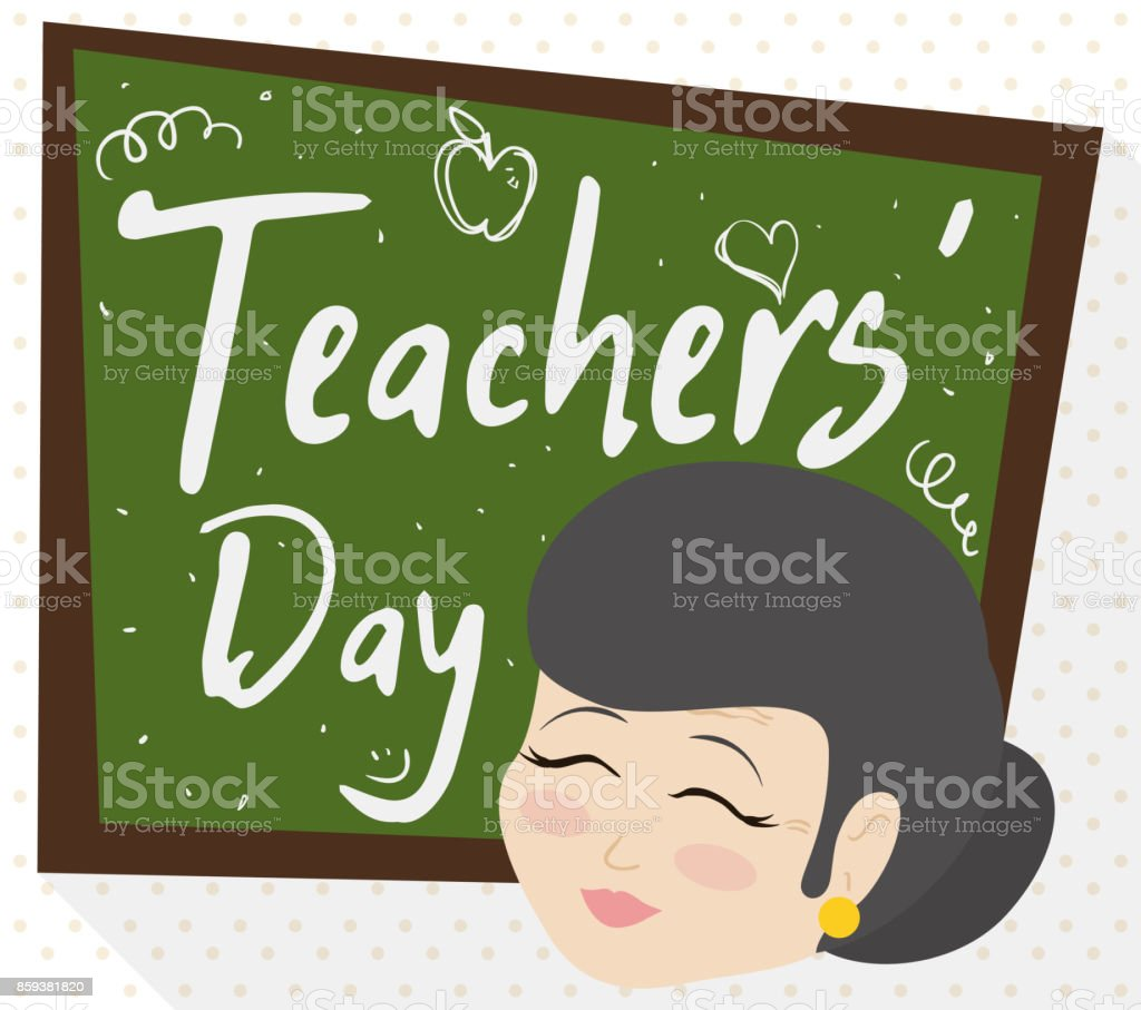 Female Senior Educator And Chalkboard With Greetings For Teachers
