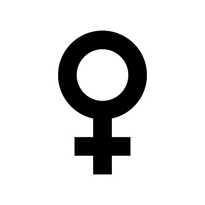 Female sex symbol icon. Black, minimalist icon isolated on white background. Gender symbol simple silhouette. Web site page and mobile app design vector element.