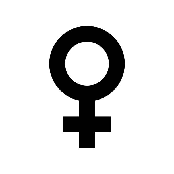 female sex symbol icon. black, minimalist icon isolated on white background. - tylko kobiety stock illustrations