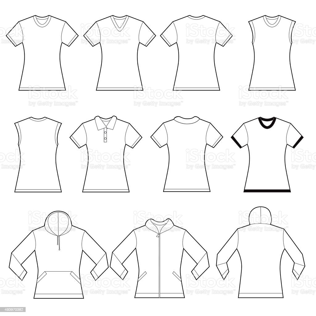 Female Shirts Template vector art illustration