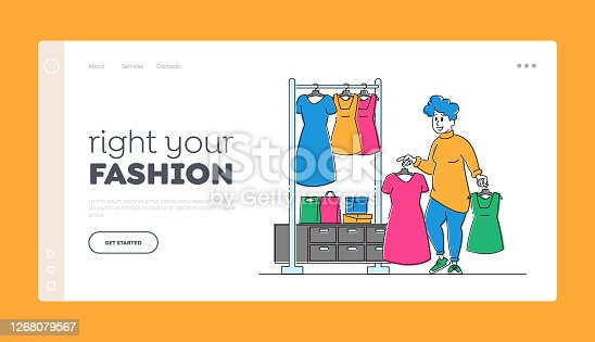 Female Shopaholic Character Shopping Landing Page Template. Young Plus Size Woman Choose Fashioned Dress in Store. Fat Girl near Hanger with Clothes Hold Apparel in Hands. Linear Vector Illustration