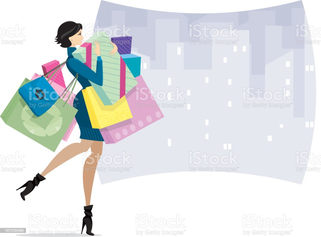 Female Shopper in town or Shopaholic royalty-free stock vector art