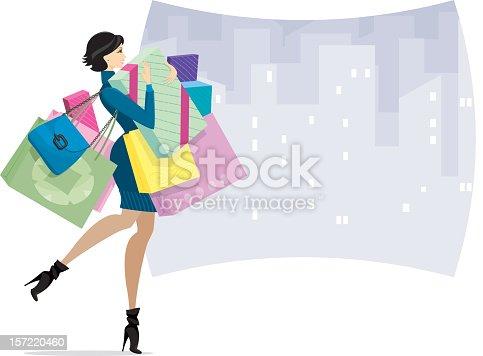 istock Female Shopper in town or Shopaholic 157220460