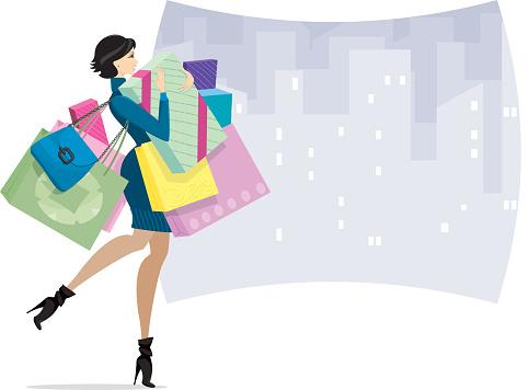 Female Shopper in town or Shopaholic