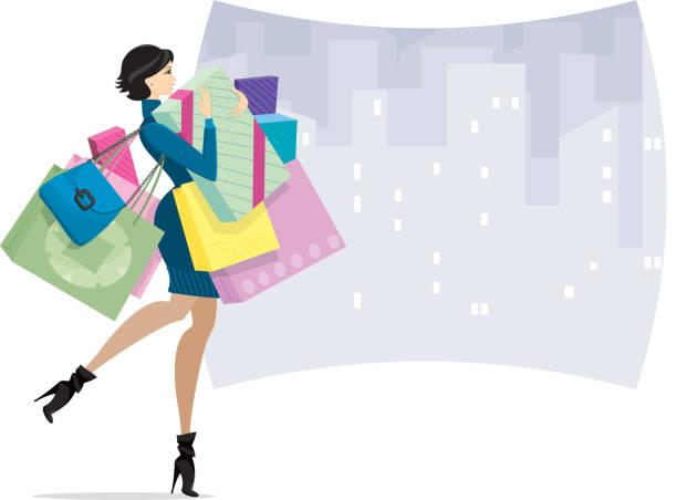 Female Shopper in town or Shopaholic vector art illustration