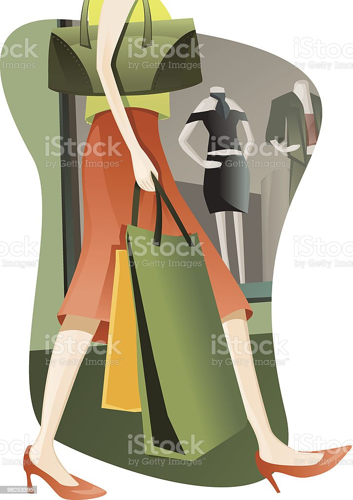 Female shopper loaded down with bags passing a window. royalty-free female shopper loaded down with bags passing a window stock vector art & more images of adolescence