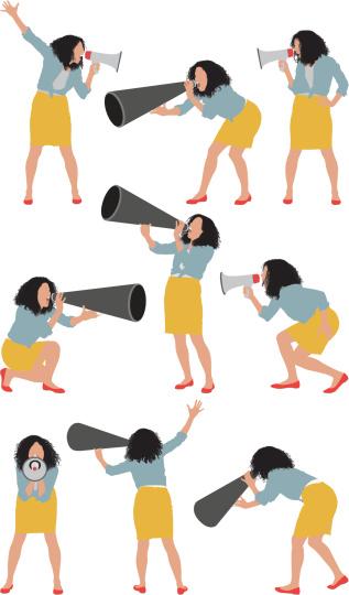Female shouting into a bullhorn