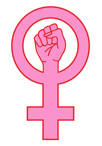 Female sign with hand, vector illustration