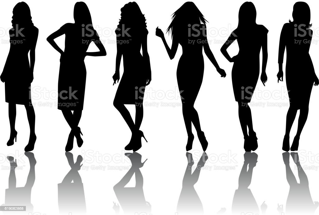 Female silhouette set vector art illustration