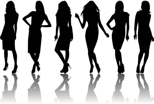 female silhouette set - shoes fashion stock illustrations, clip art, cartoons, & icons