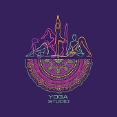 Creative yoga studio concept. Vibrant colorful female silhouettes doing yoga poses and mandala design.