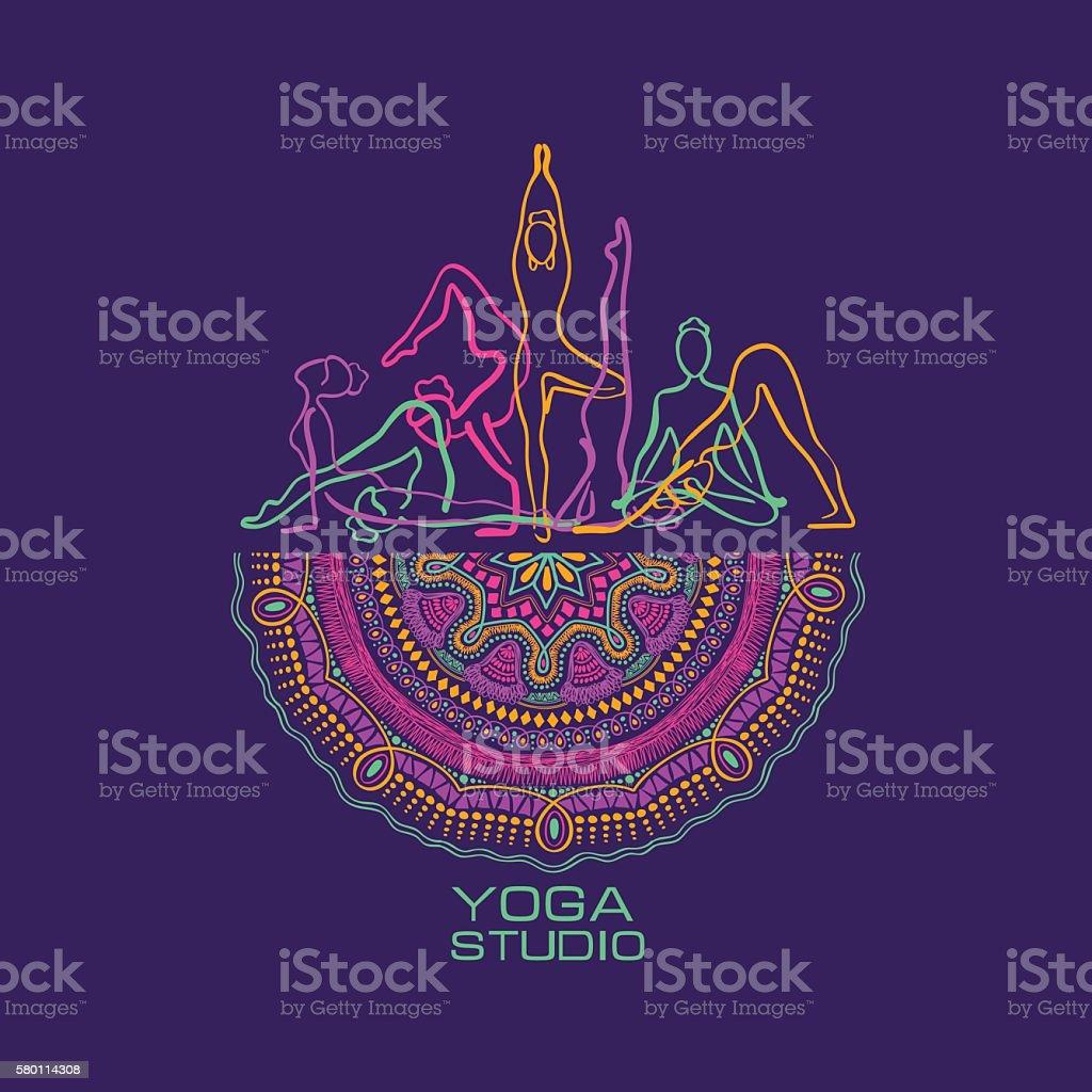 Female Silhouettes Doing Yoga Poses And Mandala Design. vector art illustration