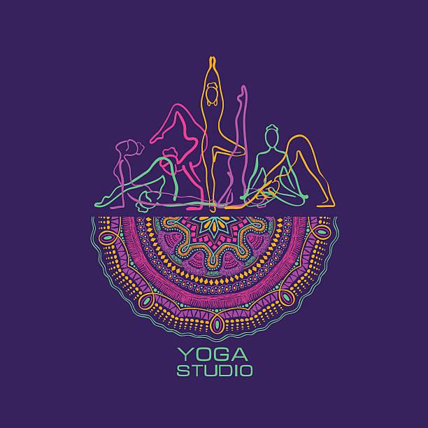 Female Silhouettes Doing Yoga Poses And Mandala Design. Creative yoga studio concept. Vibrant colorful female silhouettes doing yoga poses and mandala design. looking at camera stock illustrations