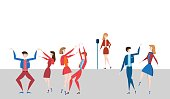 Female singer at the microphone on stage and happy dancing people, men and women. Vector illustration in flat style.