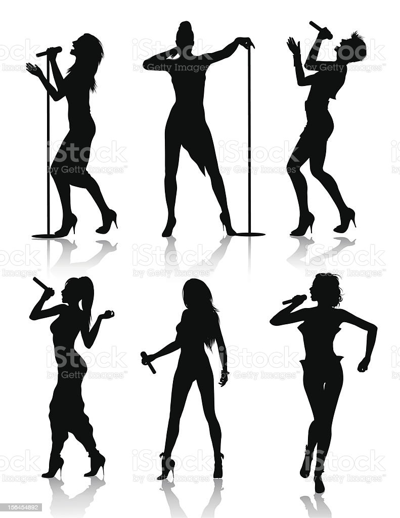 Female singers silhouette set vector art illustration