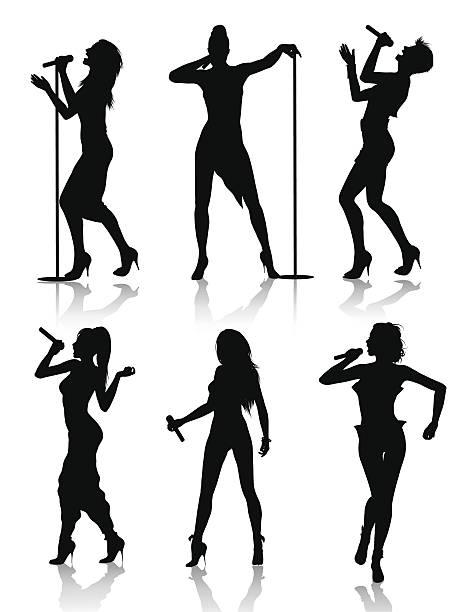 bildbanksillustrationer, clip art samt tecknat material och ikoner med female singers silhouette set - singer