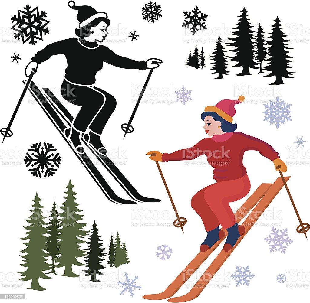 female skier royalty-free stock vector art