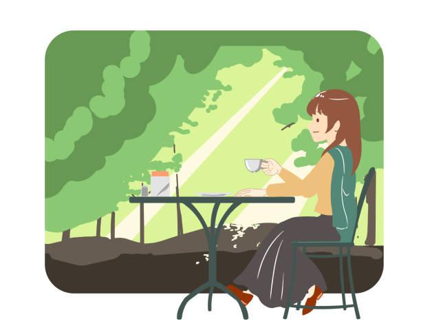 illustrazioni stock, clip art, cartoni animati e icone di tendenza di female skirt spending time at a cafe forest (no line) - forest bathing