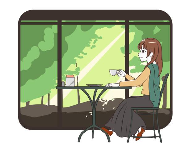 illustrazioni stock, clip art, cartoni animati e icone di tendenza di female skirt spending time in a cafe with forest window fram - forest bathing