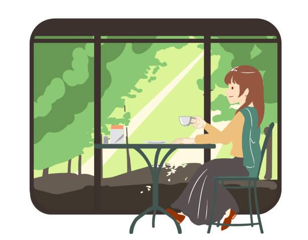 illustrazioni stock, clip art, cartoni animati e icone di tendenza di female skirt spending time in a cafe with forest window frame (no line) - forest bathing