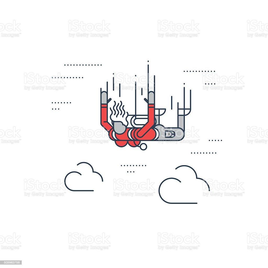Female skydiver vector art illustration