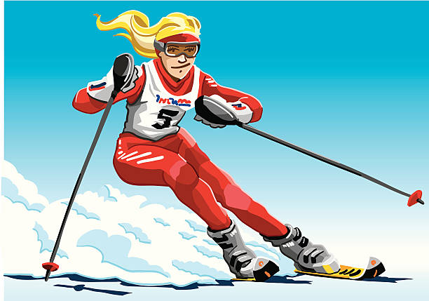 """Female Slalom Skier Red """"Vector Illustration of a female slalom skier with a red suit. The background is on a separate layer, so you can use the illustration on your own background. The colors in the .eps and .ai-files are ready for print (CMYK). Included files: EPS (v8), AI (CS2) and Hi-Res JPG."""" winter sport stock illustrations"""