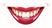 Female smile, Retro Halftone dot