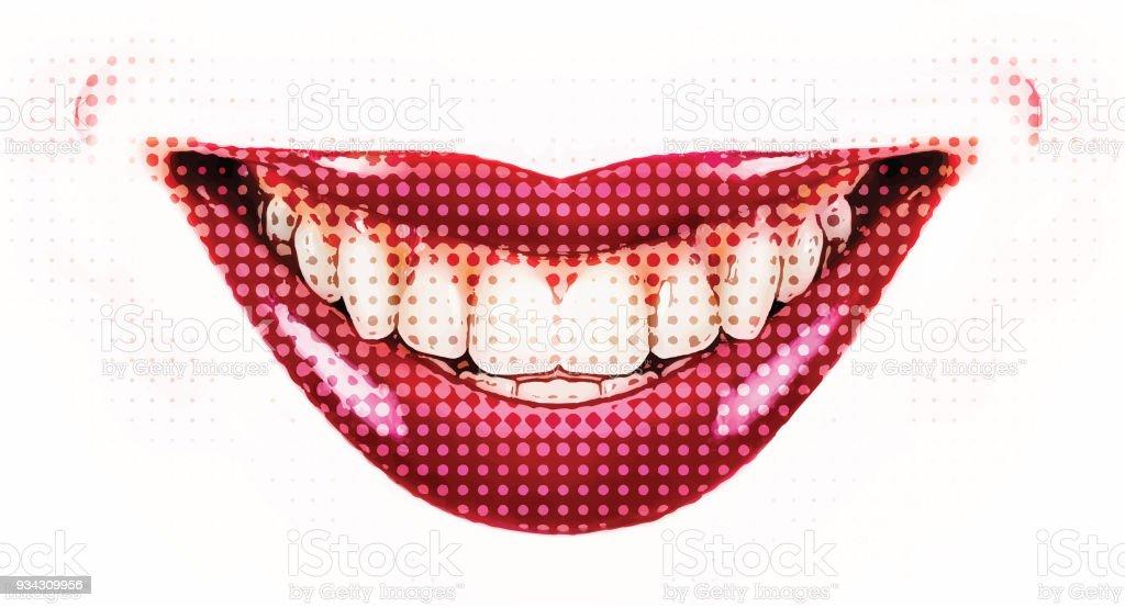 Female smile, Retro Halftone dot vector art illustration