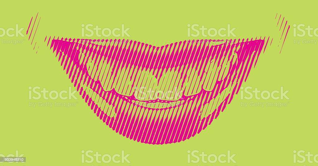 Female smile vector Retro engraving vector art illustration