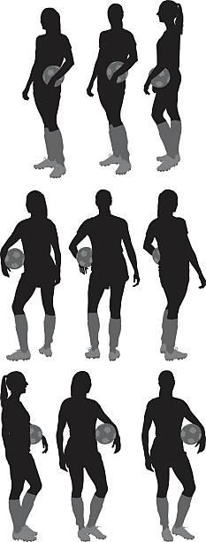 illustrazioni stock, clip art, cartoni animati e icone di tendenza di female soccer player standing - ritratto 360 gradi