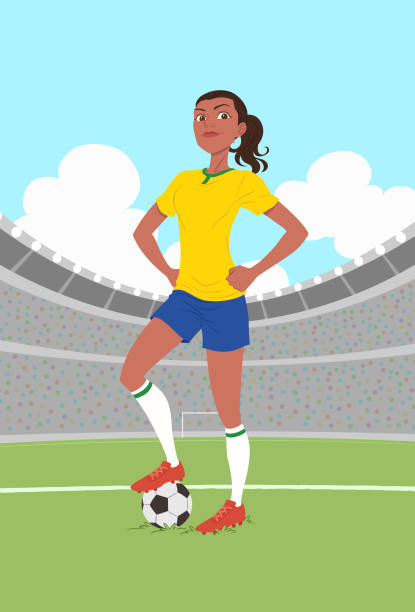 ilustraciones, imágenes clip art, dibujos animados e iconos de stock de jugador de fútbol femenino - social media