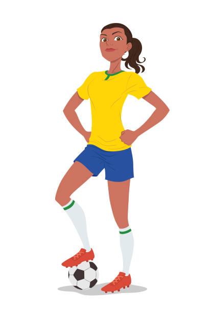 stockillustraties, clipart, cartoons en iconen met vrouwelijke voetbalspeler - soccer player