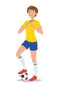 Jogadora de futebol feminino com bola sob o pé com pose autoconfiante