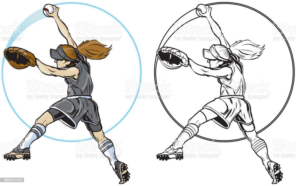 Jugador de softbol femenino lanzamiento Vector Clip Art - ilustración de arte vectorial