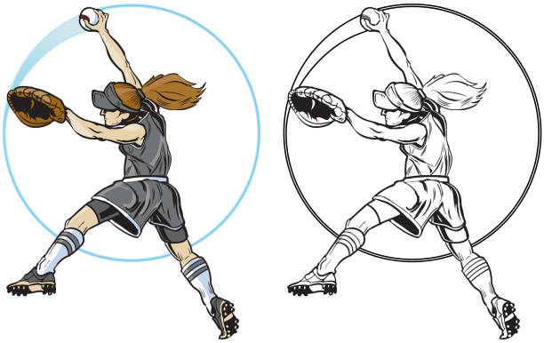 female softball player pitching vector clip art - softball stock illustrations, clip art, cartoons, & icons