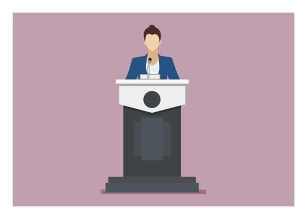 ilustrações, clipart, desenhos animados e ícones de altofalante fêmea que dá o discurso em um pódio. ilustração lisa simples - ceo