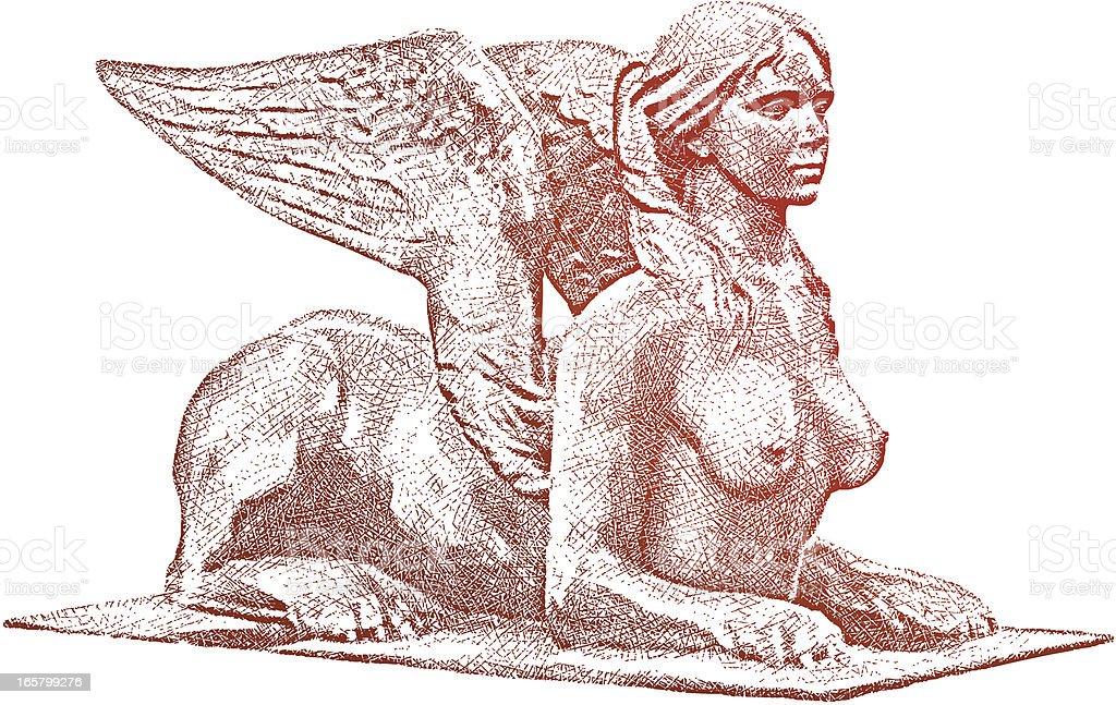 Female Sphinx vector art illustration