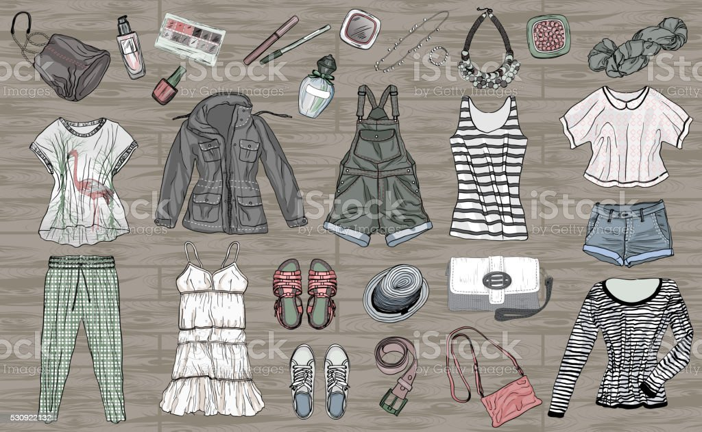 aa854f5c4dcf female spring and summer fashion collection of clothes and accessories  royalty-free female spring and