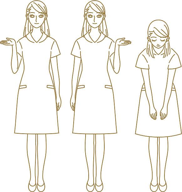 女性スタッフのガイダンス - お礼点のイラスト素材/クリップアート素材/マンガ素材/アイコン素材
