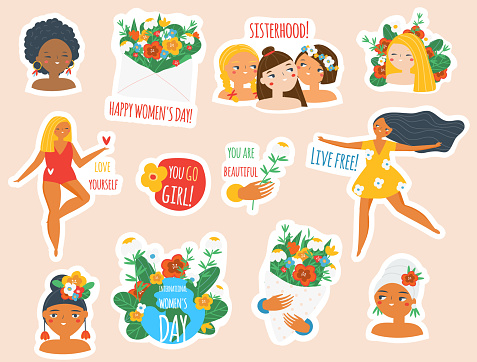 Female stickers collection. Big set of women badges for 8 march celebration, body positive and feminist concept. Inspirational quotes for self care and Girls of different cultures with slogans