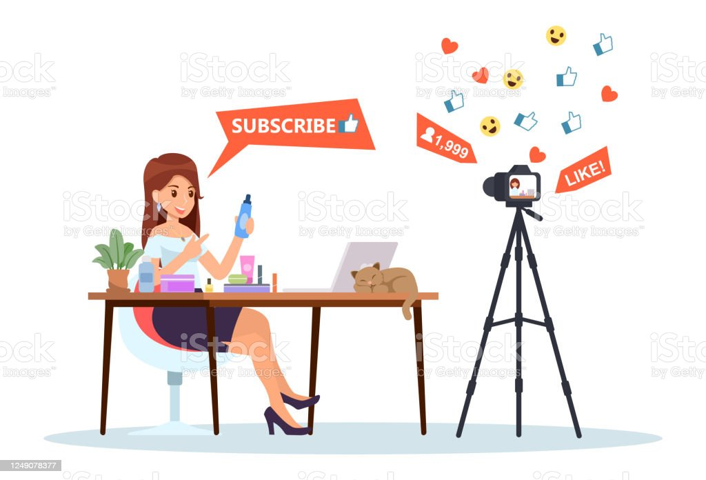 Female Streaming Beauty Video Bloggers At Home Vlogger Making Cosmetics Hair Makeup Skincare Content Famous Creative Culinary Influencers Vector Illustration Flat Design For Banner And Website Stock Illustration Download Image Now