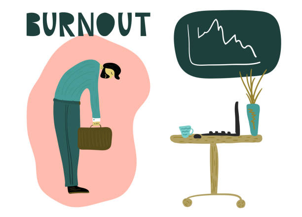 Female strong Tired man with a briefcase, head down in front of an office table with a laptop. Overwhelmed workaholic has no energy to move on. Professional burnout, low energy. Flat cartoon vector illustration. mental burnout stock illustrations